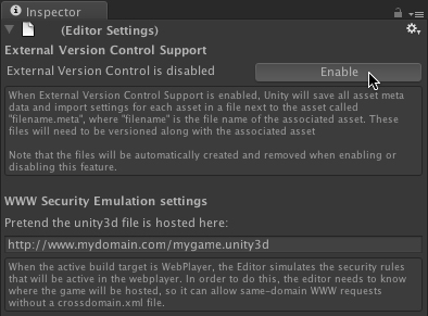 [Unity + SVN]External Version Cntrol SupportをEnableにする
